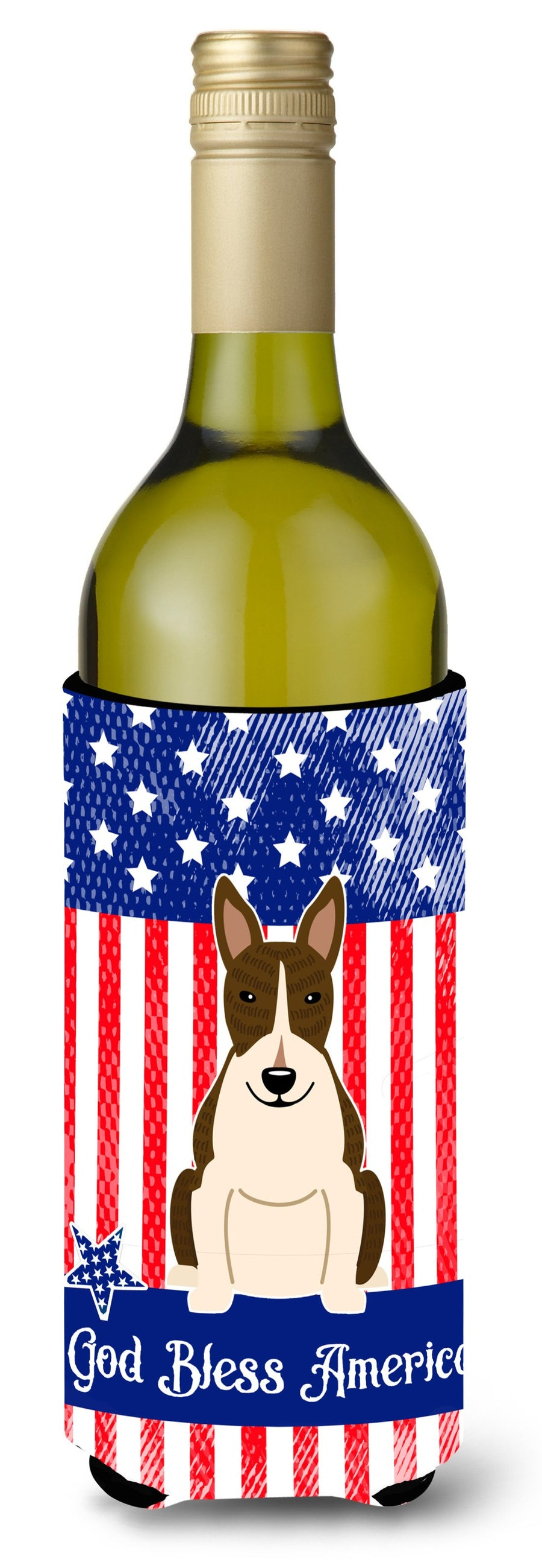Buy this Patriotic USA Bull Terrier Dark Brindle Wine Bottle Beverge Insulator Hugger BB3131LITERK
