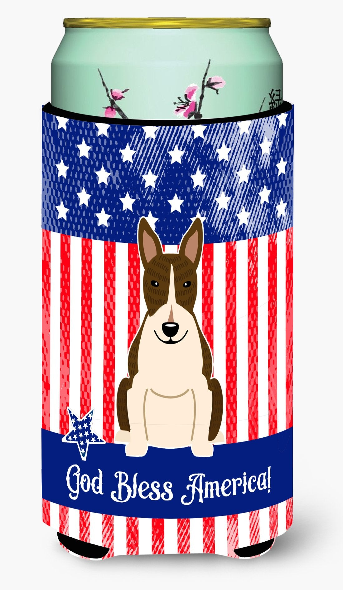 Patriotic USA Bull Terrier Dark Brindle Tall Boy Beverage Insulator Hugger by Caroline's Treasures