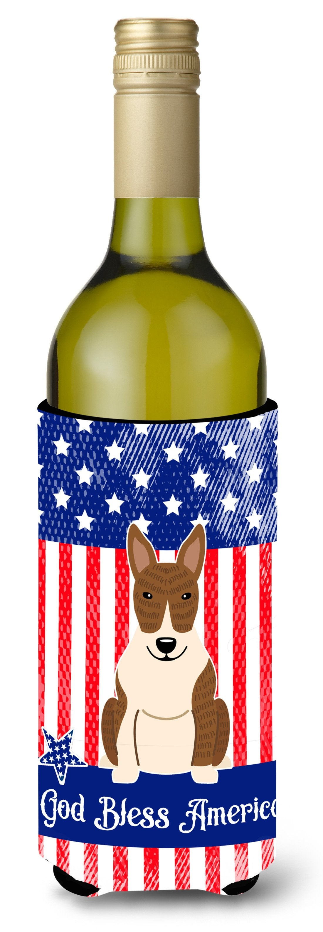 Buy this Patriotic USA Bull Terrier Brindle Wine Bottle Beverge Insulator Hugger