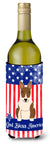 Patriotic USA Bull Terrier Brindle Wine Bottle Beverge Insulator Hugger by Caroline's Treasures