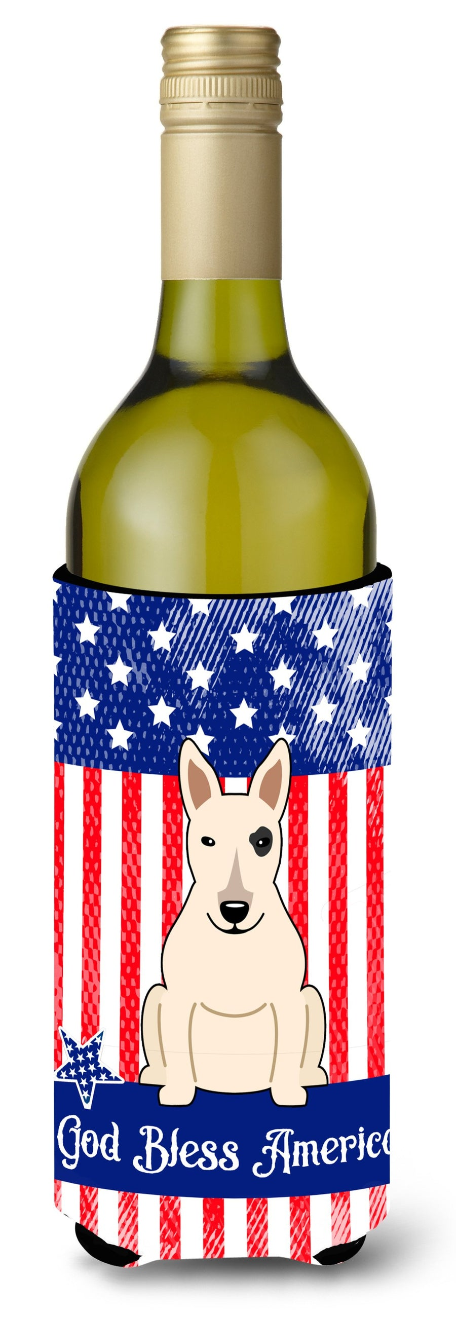 Buy this Patriotic USA Bull Terrier White Wine Bottle Beverge Insulator Hugger BB3133LITERK
