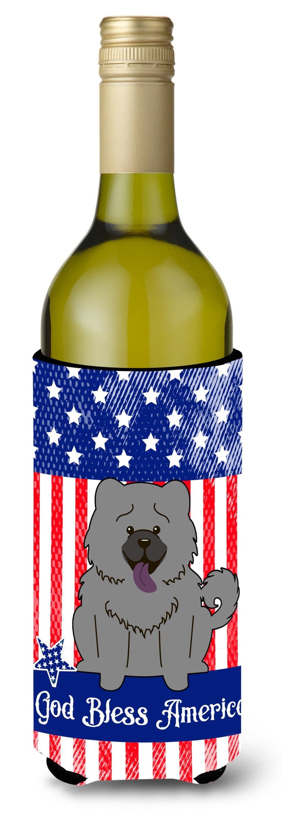 Buy this Patriotic USA Chow Chow Blue Wine Bottle Beverge Insulator Hugger