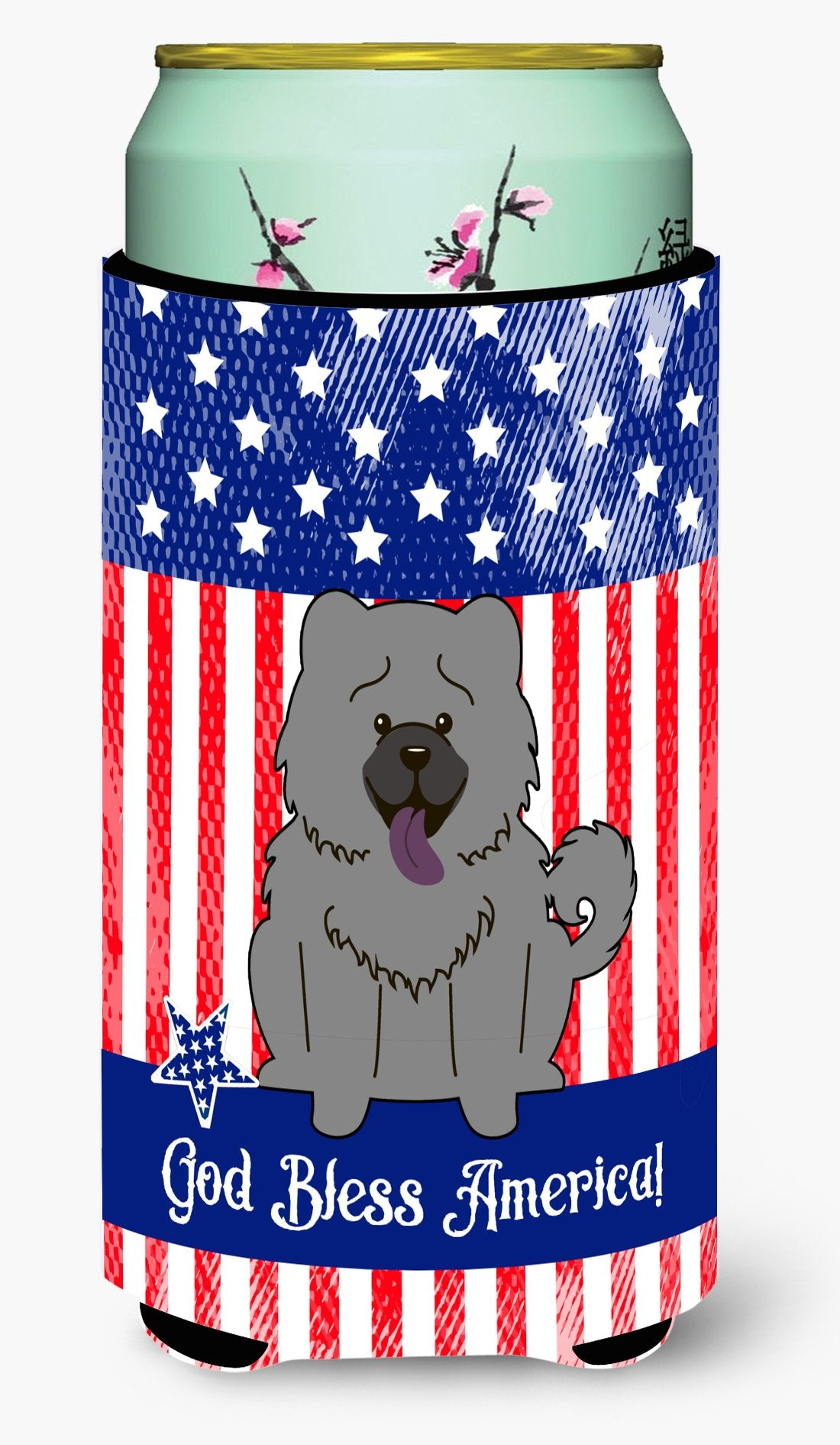 Patriotic USA Chow Chow Blue Tall Boy Beverage Insulator Hugger BB3134TBC by Caroline's Treasures