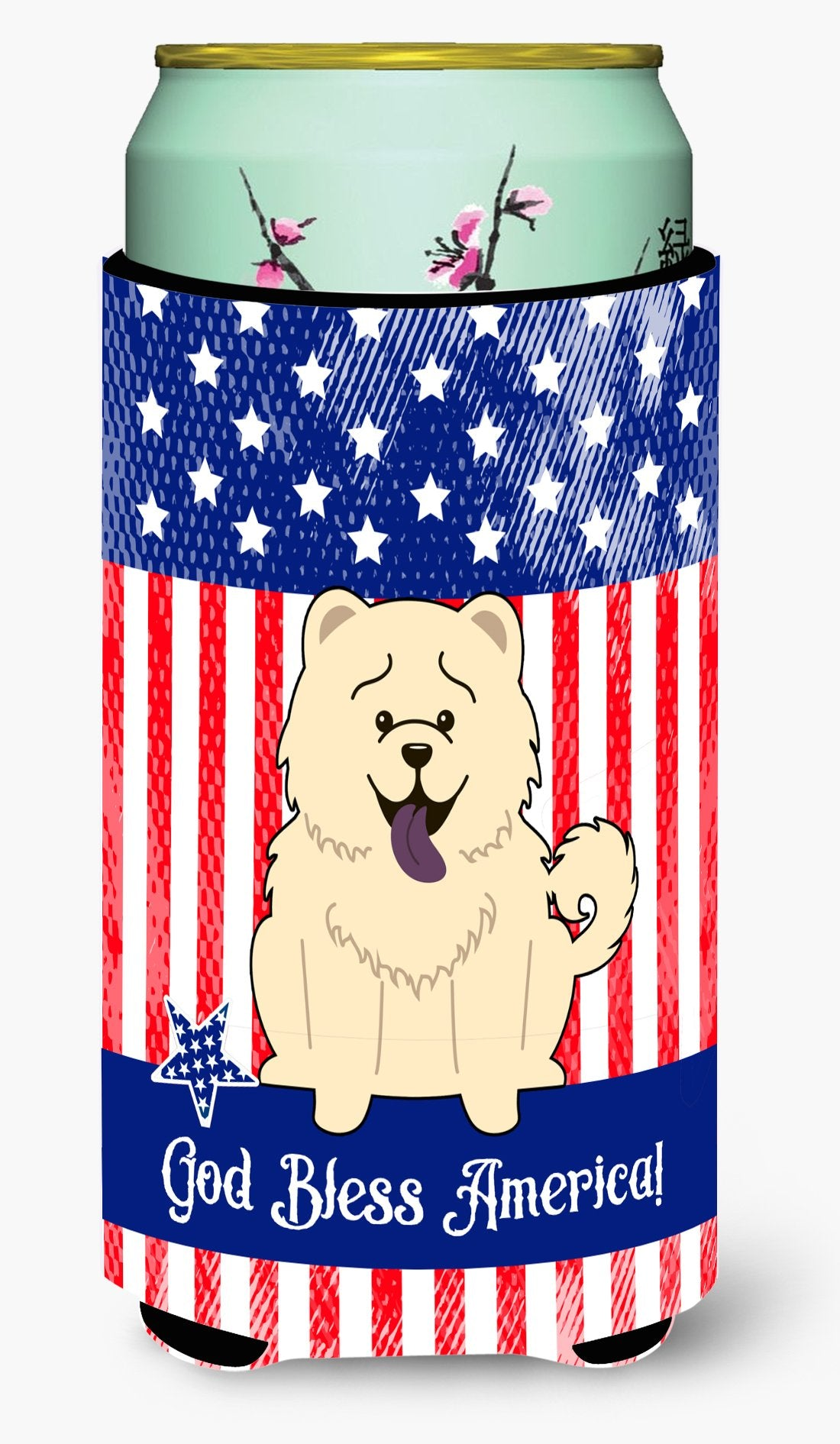 Patriotic USA Chow Chow White Tall Boy Beverage Insulator Hugger BB3135TBC by Caroline's Treasures