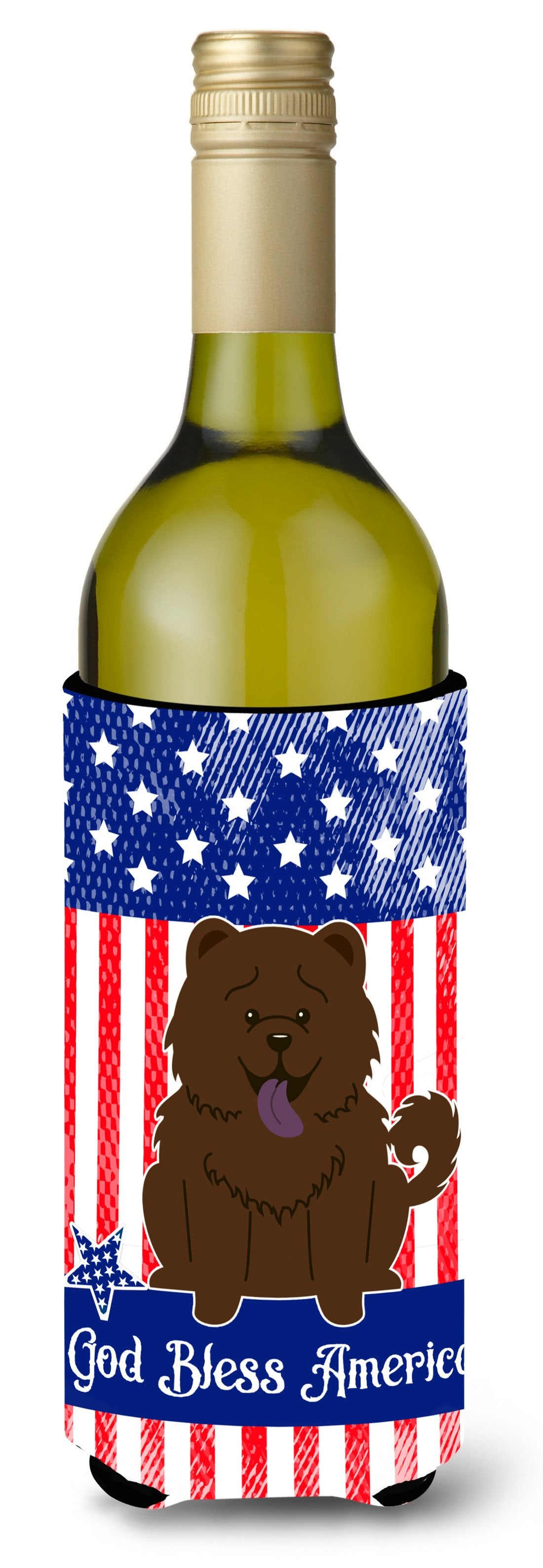 Buy this Patriotic USA Chow Chow Chocolate Wine Bottle Beverge Insulator Hugger BB3136LITERK