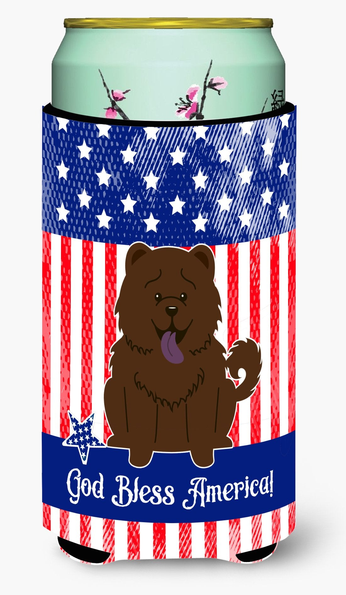 Patriotic USA Chow Chow Chocolate Tall Boy Beverage Insulator Hugger by Caroline's Treasures