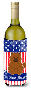 Patriotic USA Chow Chow Red Wine Bottle Beverge Insulator Hugger by Caroline's Treasures
