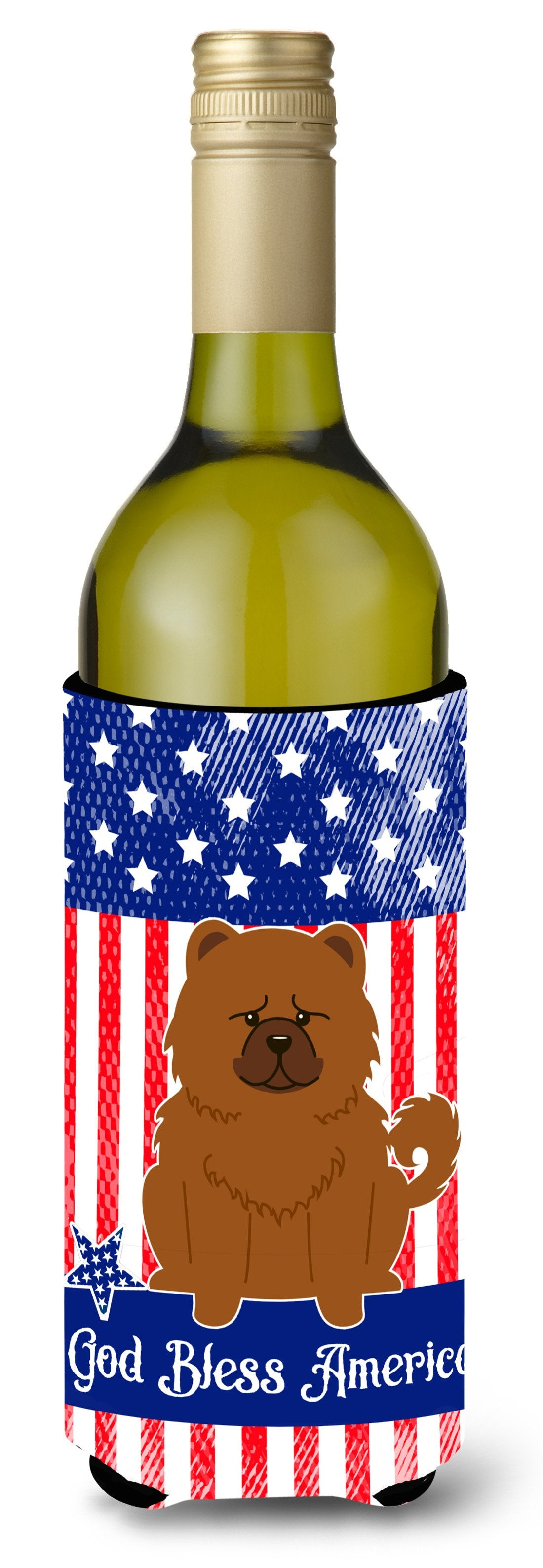 Buy this Patriotic USA Chow Chow Red Wine Bottle Beverge Insulator Hugger