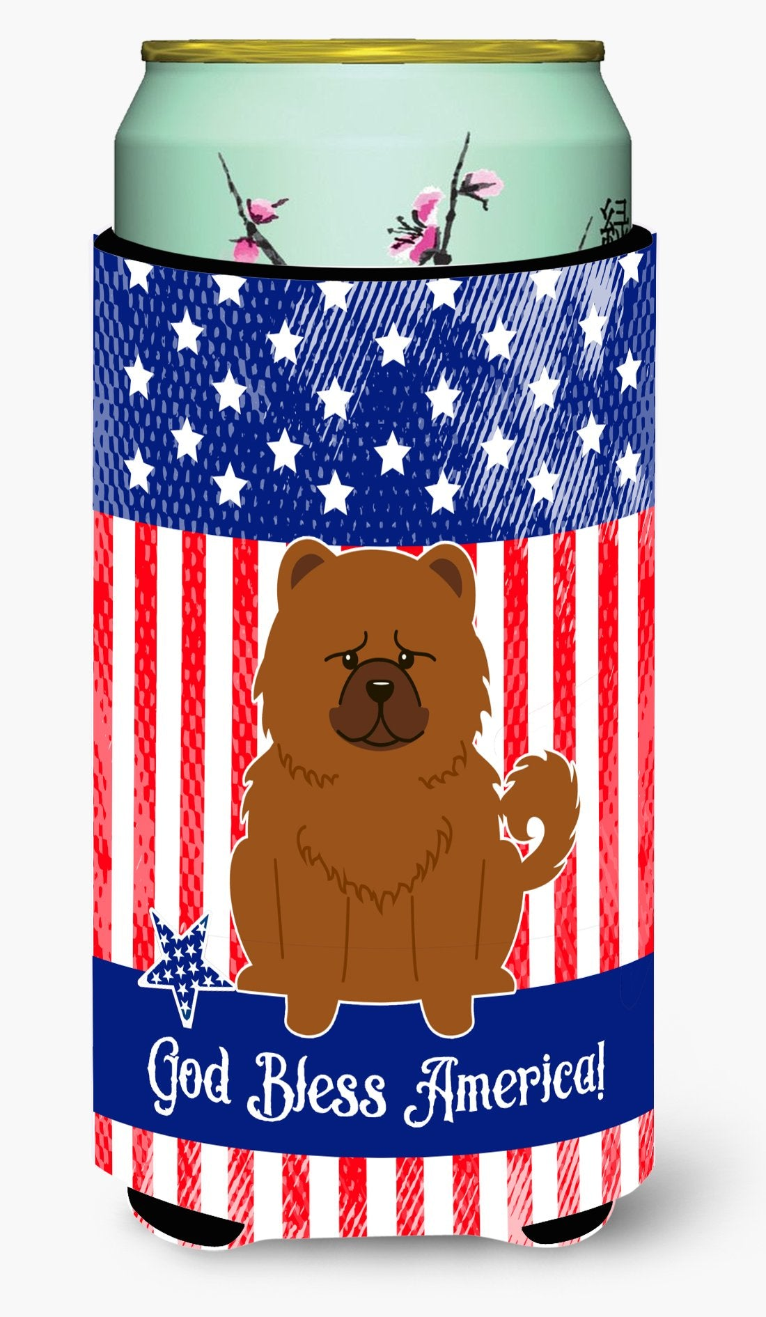 Buy this Patriotic USA Chow Chow Red Tall Boy Beverage Insulator Hugger