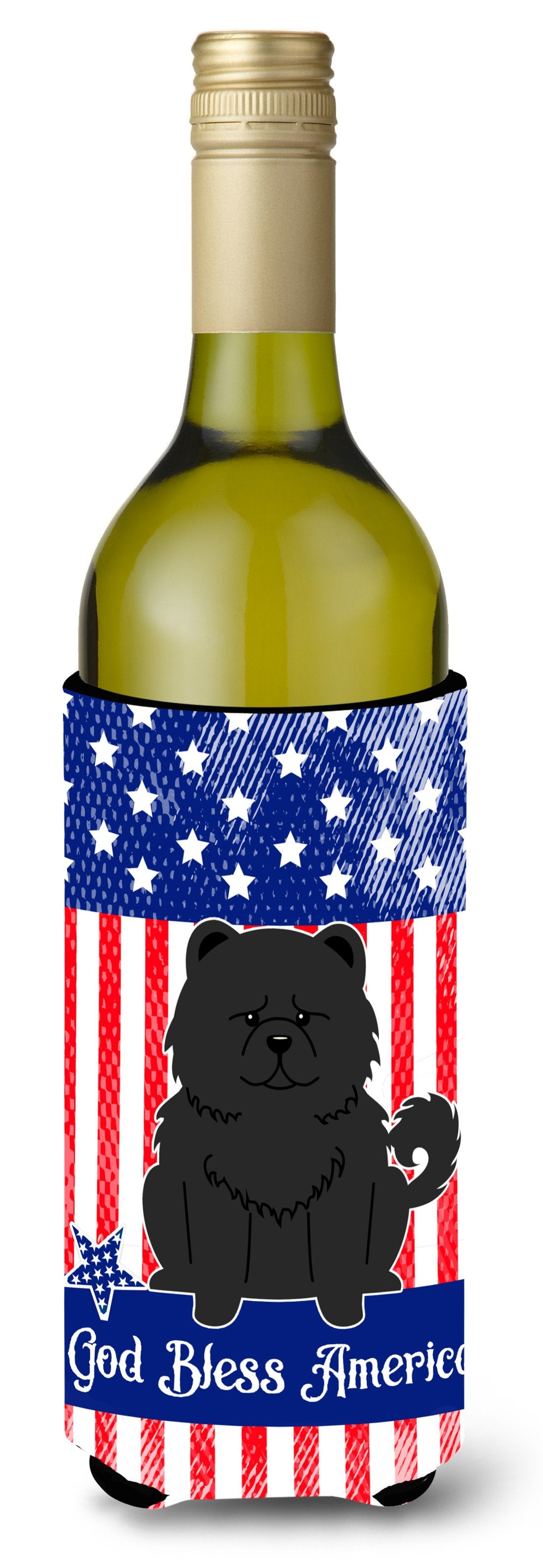 Buy this Patriotic USA Chow Chow Black Wine Bottle Beverge Insulator Hugger