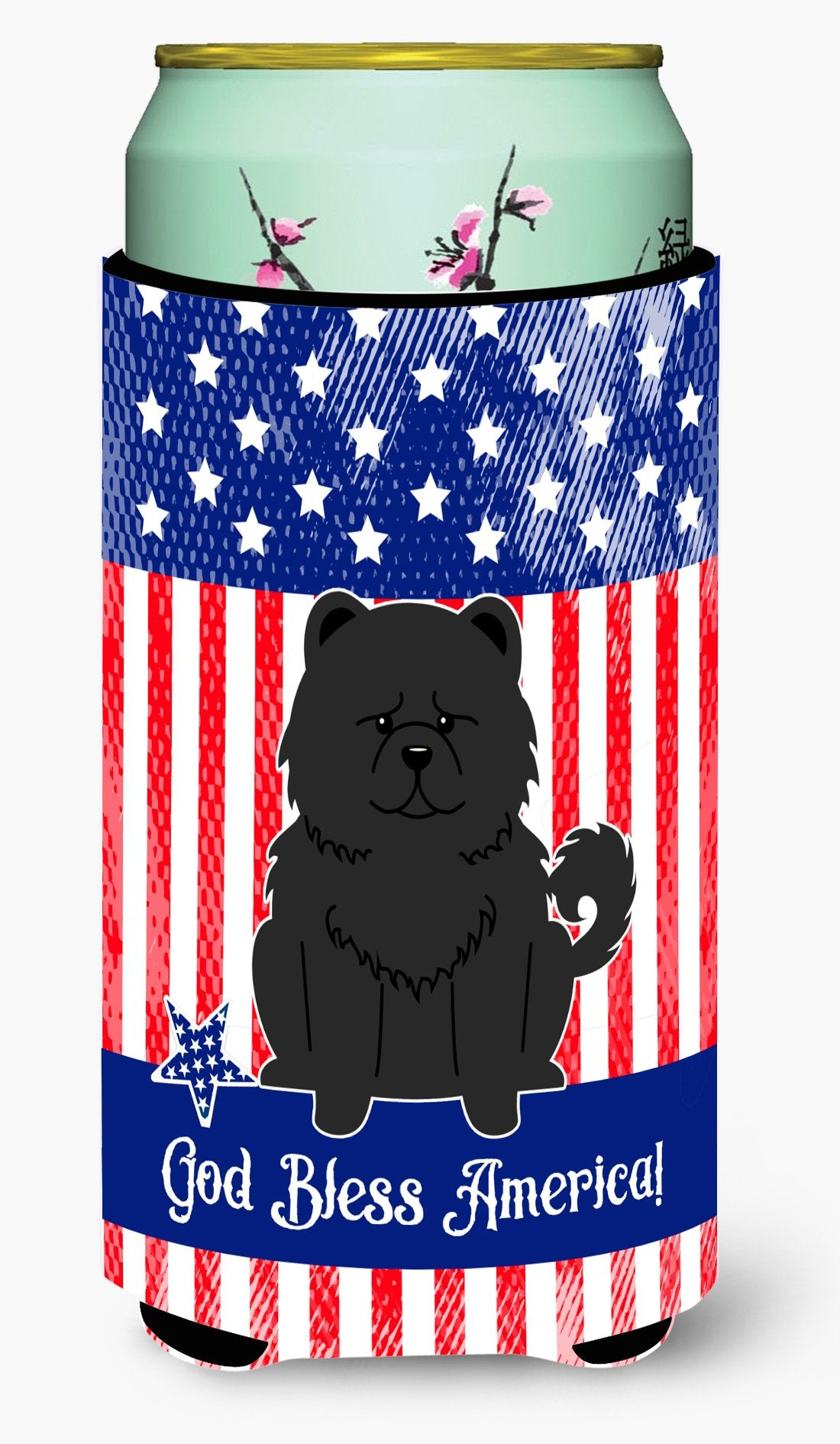 Patriotic USA Chow Chow Black Tall Boy Beverage Insulator Hugger by Caroline's Treasures