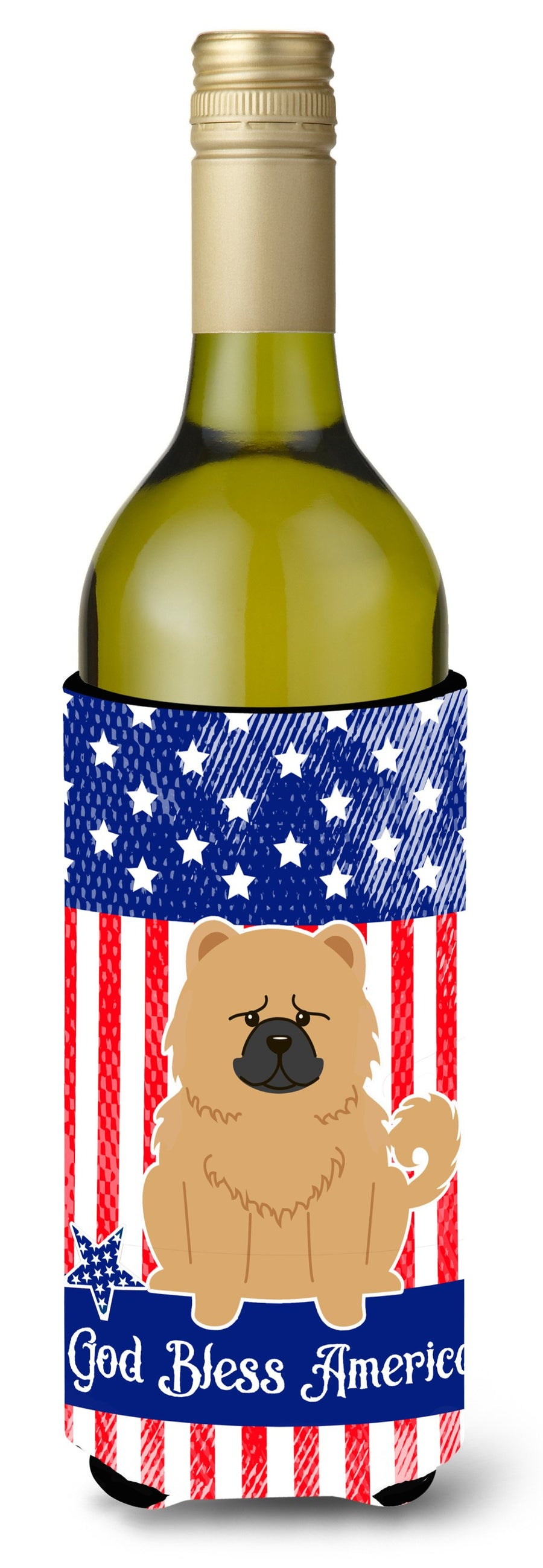 Buy this Patriotic USA Chow Chow Cream Wine Bottle Beverge Insulator Hugger