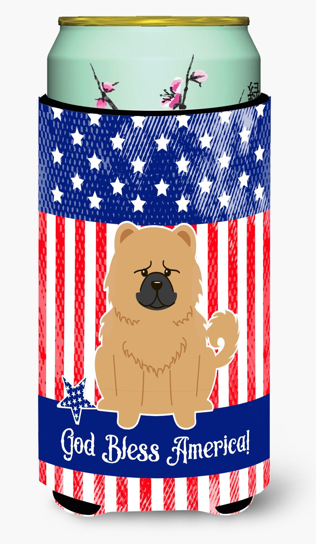 Buy this Patriotic USA Chow Chow Cream Tall Boy Beverage Insulator Hugger