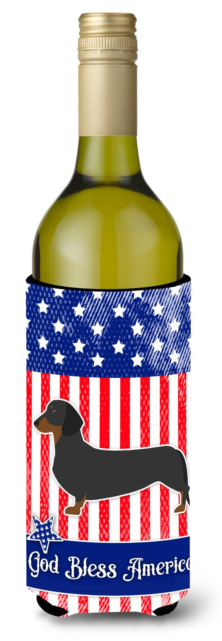 USA Patriotic Dachshund Wine Bottle Beverge Insulator Hugger BB3282LITERK by Caroline's Treasures