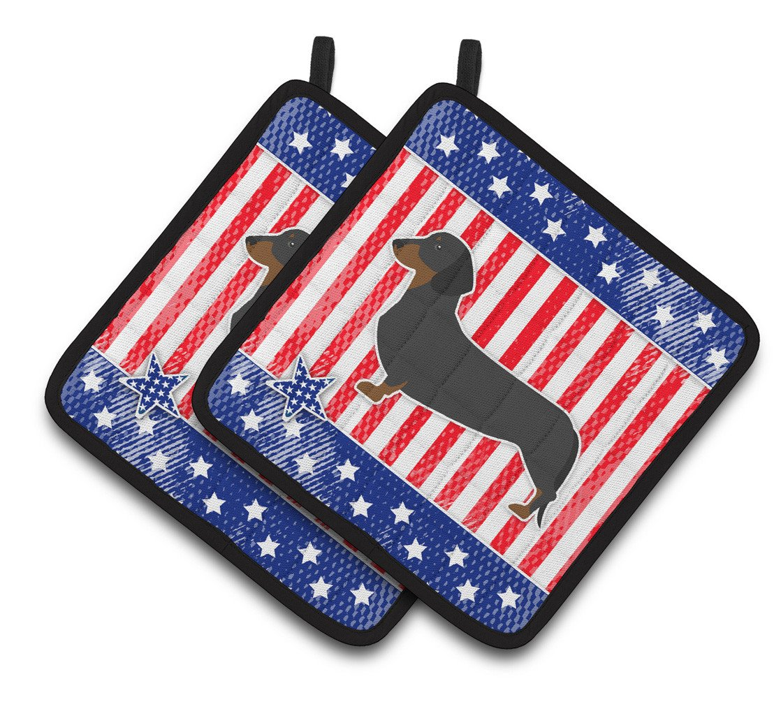 USA Patriotic Dachshund Pair of Pot Holders BB3282PTHD by Caroline's Treasures