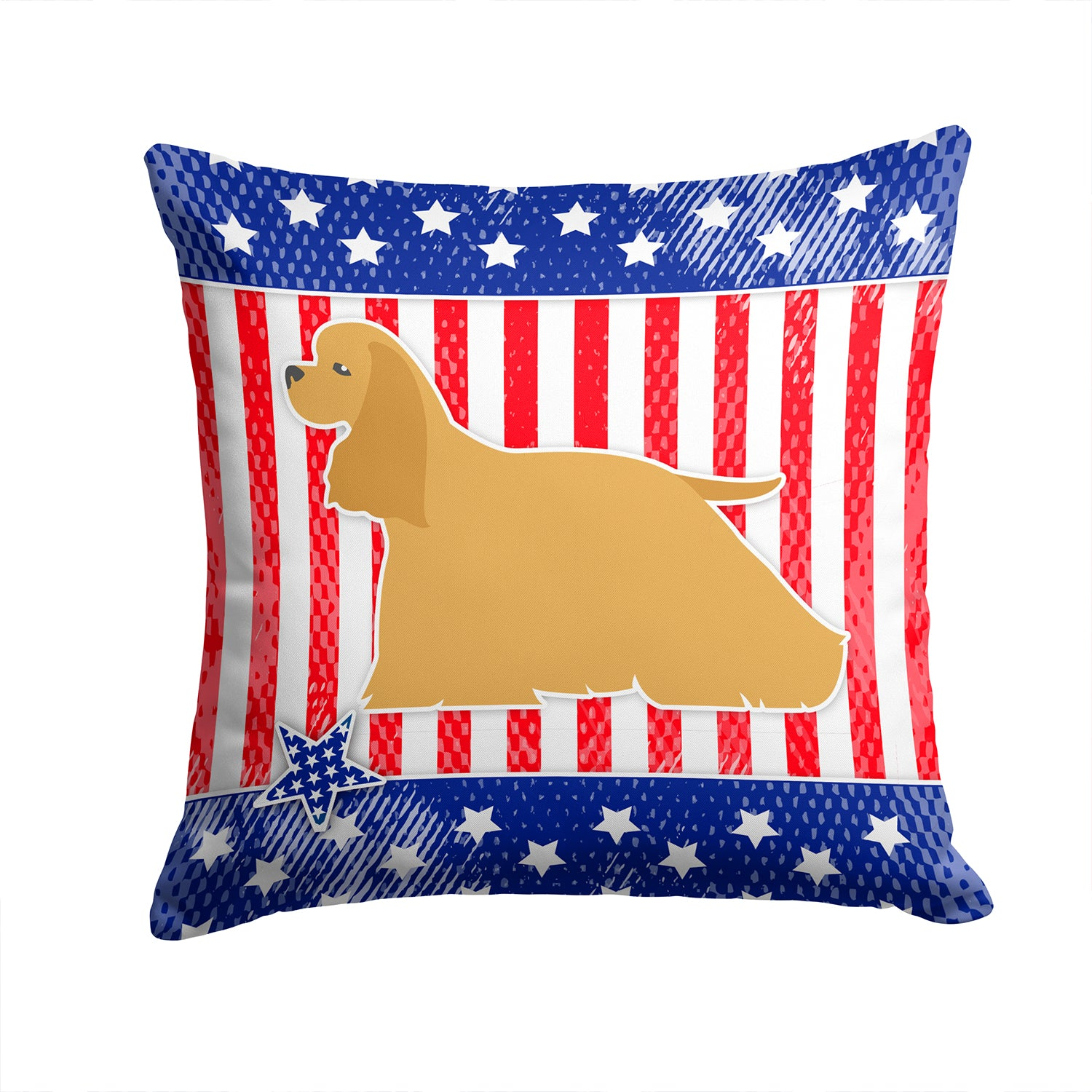 USA Patriotic Cocker Spaniel Fabric Decorative Pillow BB3286PW1414 by Caroline's Treasures