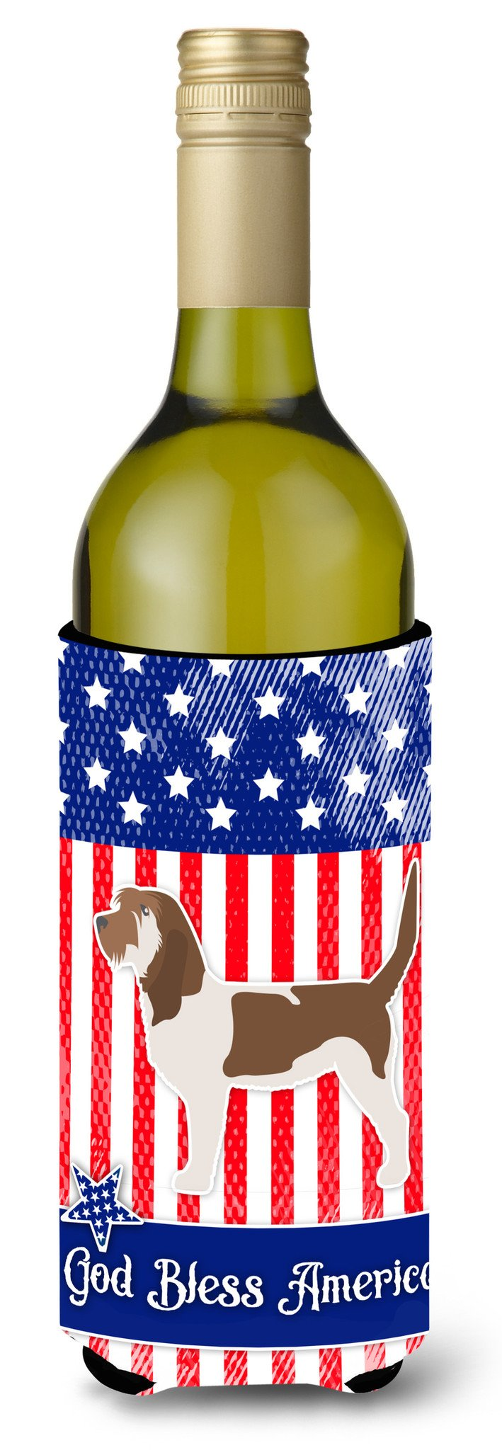 USA Patriotic Grand Basset Griffon Vendeen Wine Bottle Beverge Insulator Hugger BB3290LITERK by Caroline's Treasures