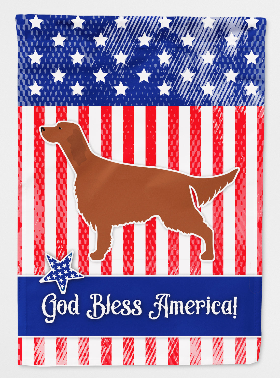 IUSA Patriotic rish Setter Flag Canvas House Size BB3293CHF by Caroline's Treasures