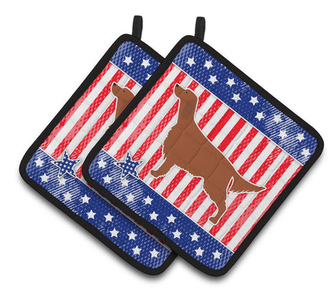 Buy this IUSA Patriotic rish Setter Pair of Pot Holders BB3293PTHD