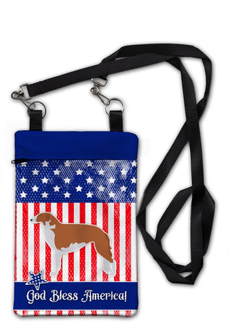 Buy this USA Patriotic Borzoi Russian Greyhound Crossbody Bag Purse BB3299OBDY