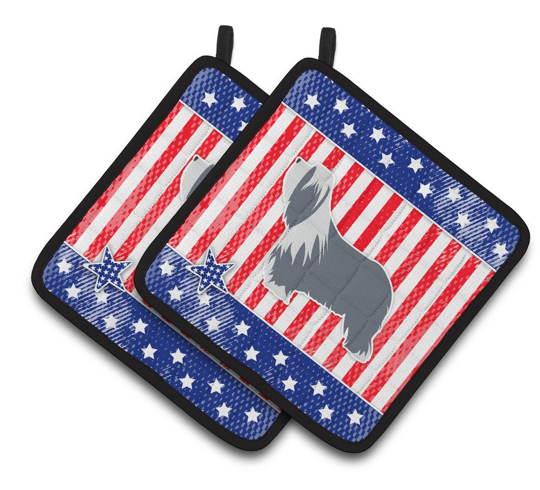 Buy this USA Patriotic Bearded Collie Pair of Pot Holders BB3317PTHD