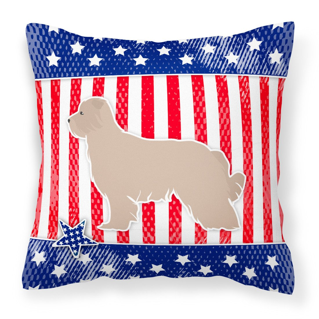 USA Patriotic Pyrenean Shepherd Fabric Decorative Pillow BB3318PW1818 by Caroline's Treasures
