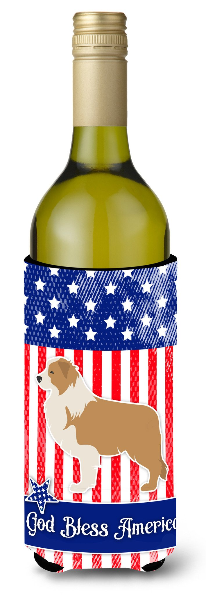 USA Patriotic Red Border Collie Wine Bottle Beverge Insulator Hugger BB3322LITERK by Caroline's Treasures