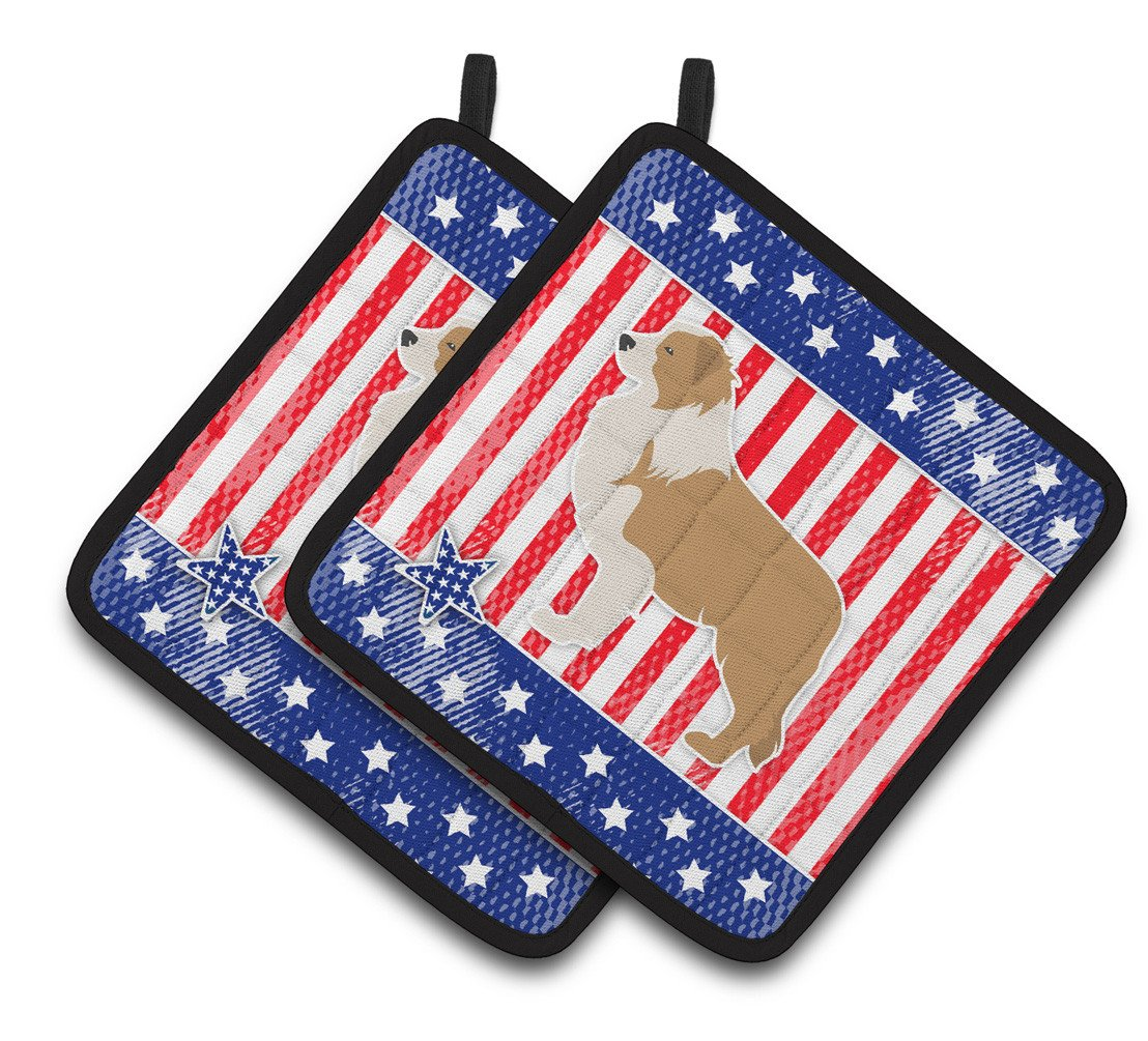 USA Patriotic Red Border Collie Pair of Pot Holders BB3322PTHD by Caroline's Treasures
