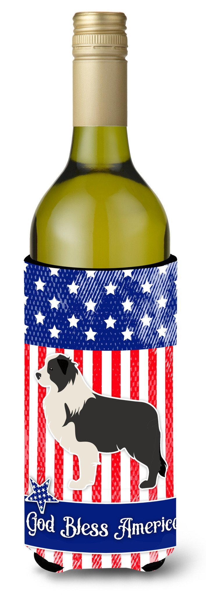 USA Patriotic Black Border Collie Wine Bottle Beverge Insulator Hugger BB3323LITERK by Caroline's Treasures