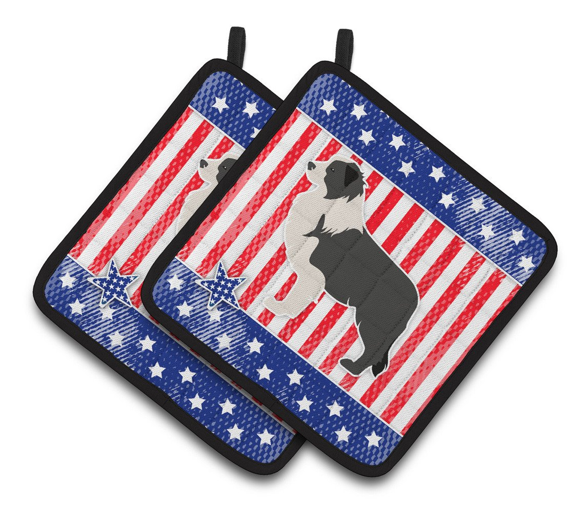 USA Patriotic Black Border Collie Pair of Pot Holders BB3323PTHD by Caroline's Treasures