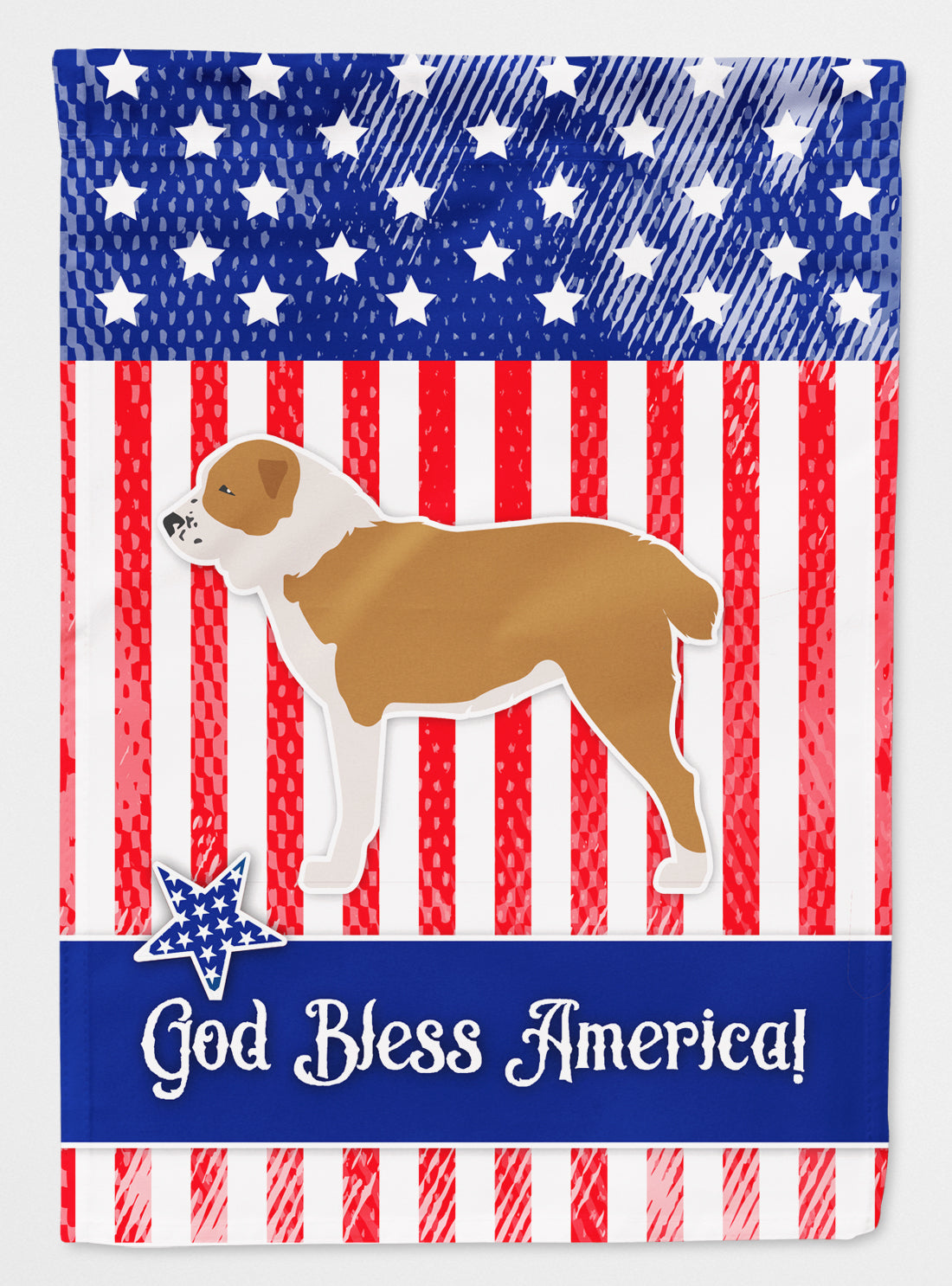 USA Patriotic Central Asian Shepherd Dog Flag Canvas House Size BB3328CHF by Caroline's Treasures