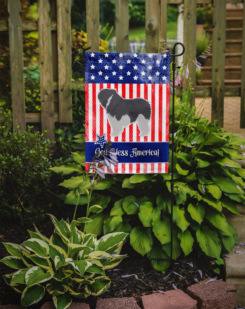 USA Patriotic Polish Lowland Sheepdog Dog Flag Garden Size BB3332GF by Caroline's Treasures