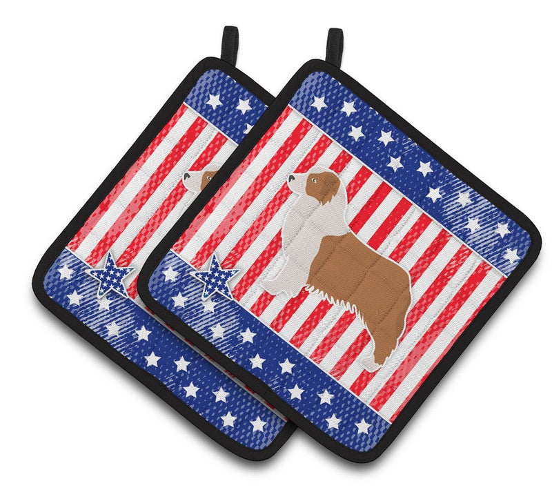 Buy this USA Patriotic Australian Shepherd Dog Pair of Pot Holders BB3333PTHD