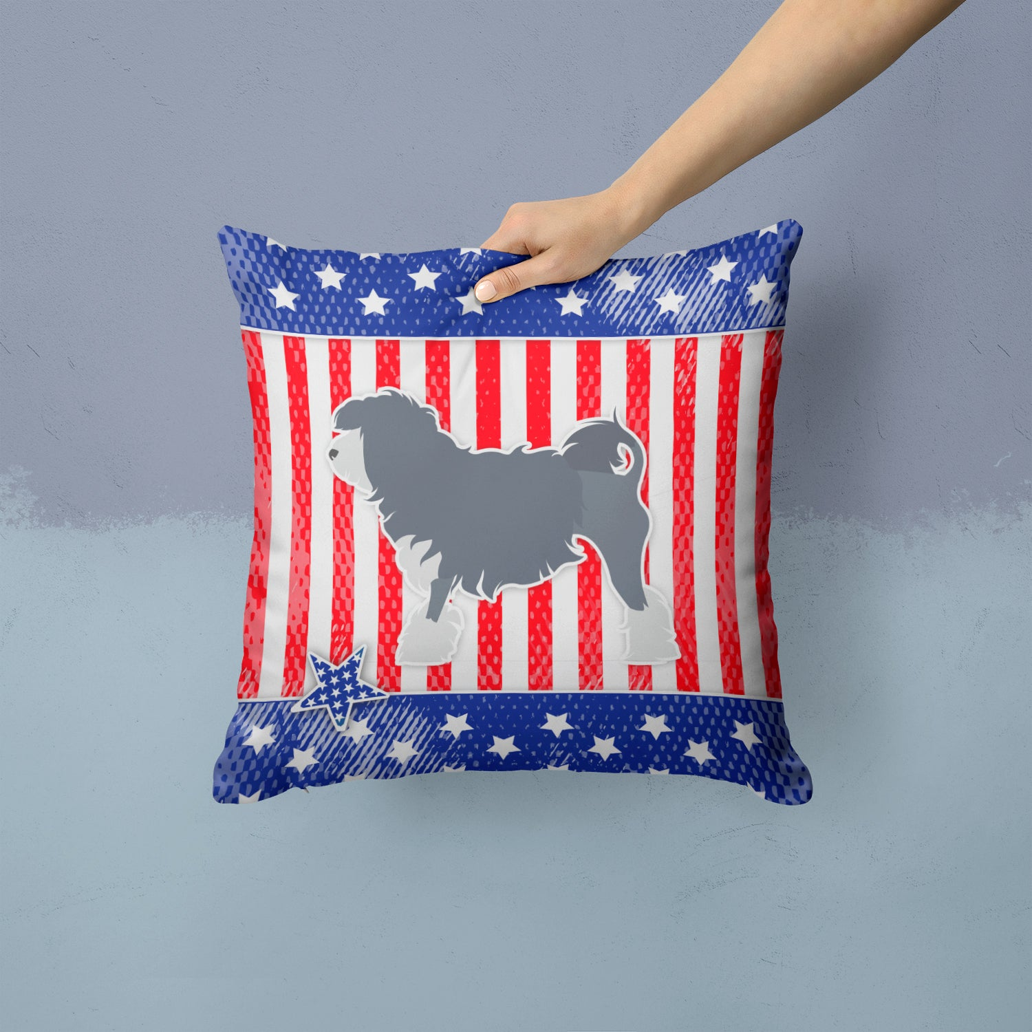 Buy this USA Patriotic Lowchen Fabric Decorative Pillow BB3335PW1414