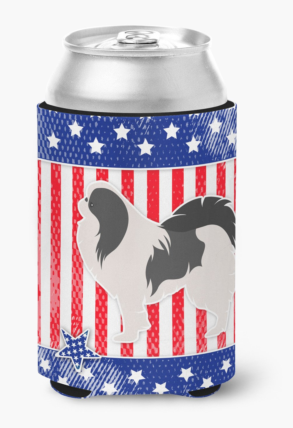 USA Patriotic Japanese Chin Can or Bottle Hugger BB3337CC by Caroline's Treasures