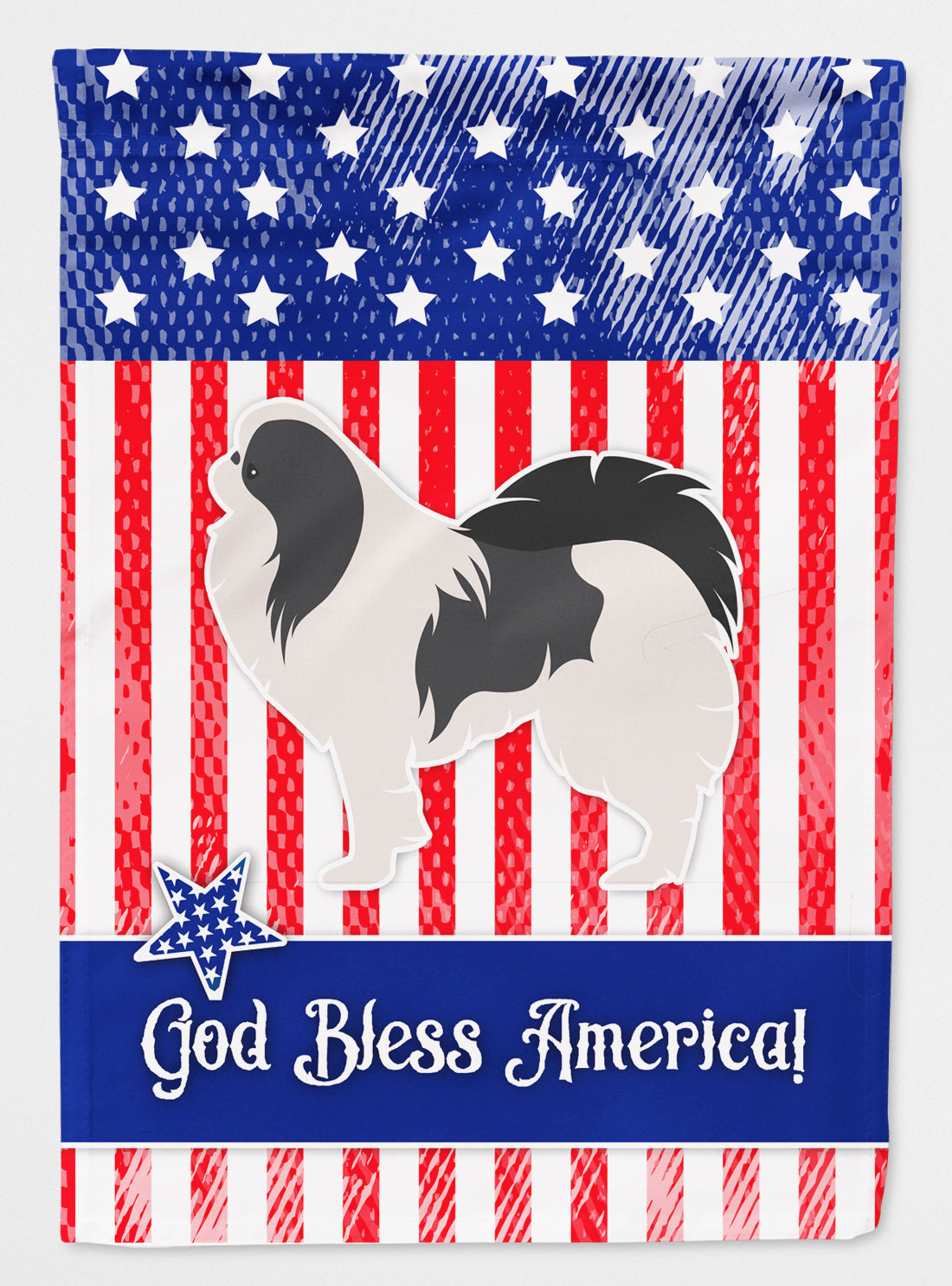 USA Patriotic Japanese Chin Flag Canvas House Size BB3337CHF by Caroline's Treasures