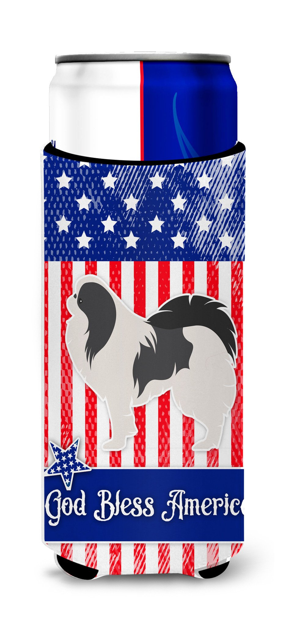 USA Patriotic Japanese Chin Michelob Ultra Hugger for slim cans BB3337MUK by Caroline's Treasures