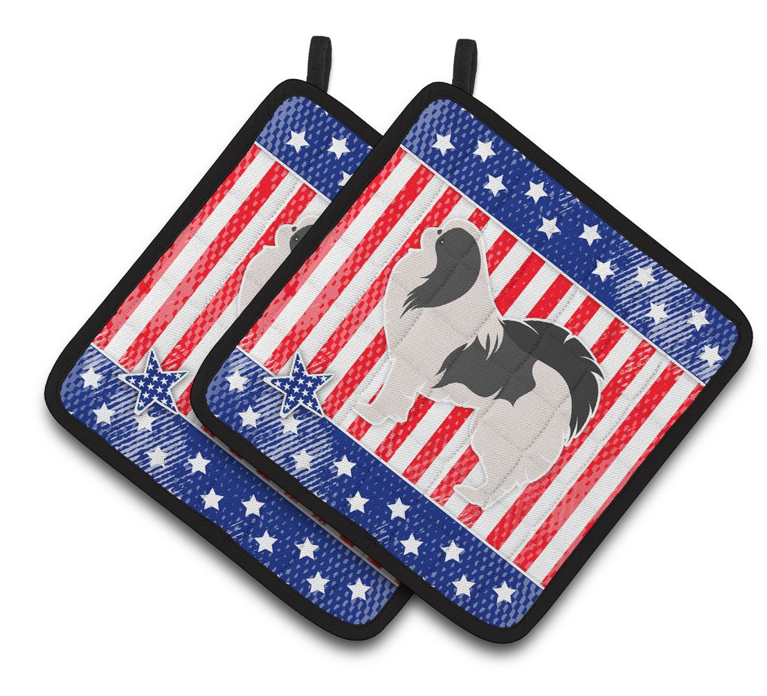 USA Patriotic Japanese Chin Pair of Pot Holders BB3337PTHD by Caroline's Treasures