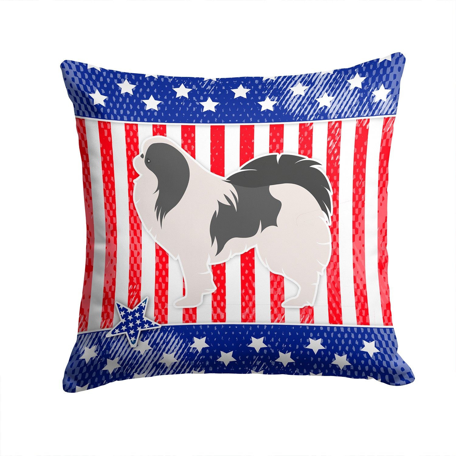 USA Patriotic Japanese Chin Fabric Decorative Pillow BB3337PW1414 by Caroline's Treasures