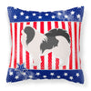 USA Patriotic Japanese Chin Fabric Decorative Pillow BB3337PW1818 by Caroline's Treasures