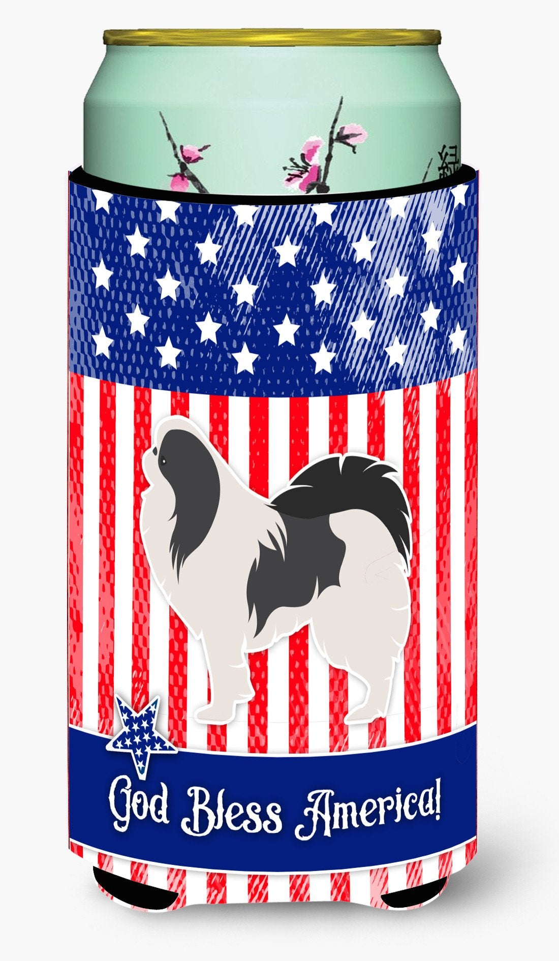 USA Patriotic Japanese Chin Tall Boy Beverage Insulator Hugger BB3337TBC by Caroline's Treasures