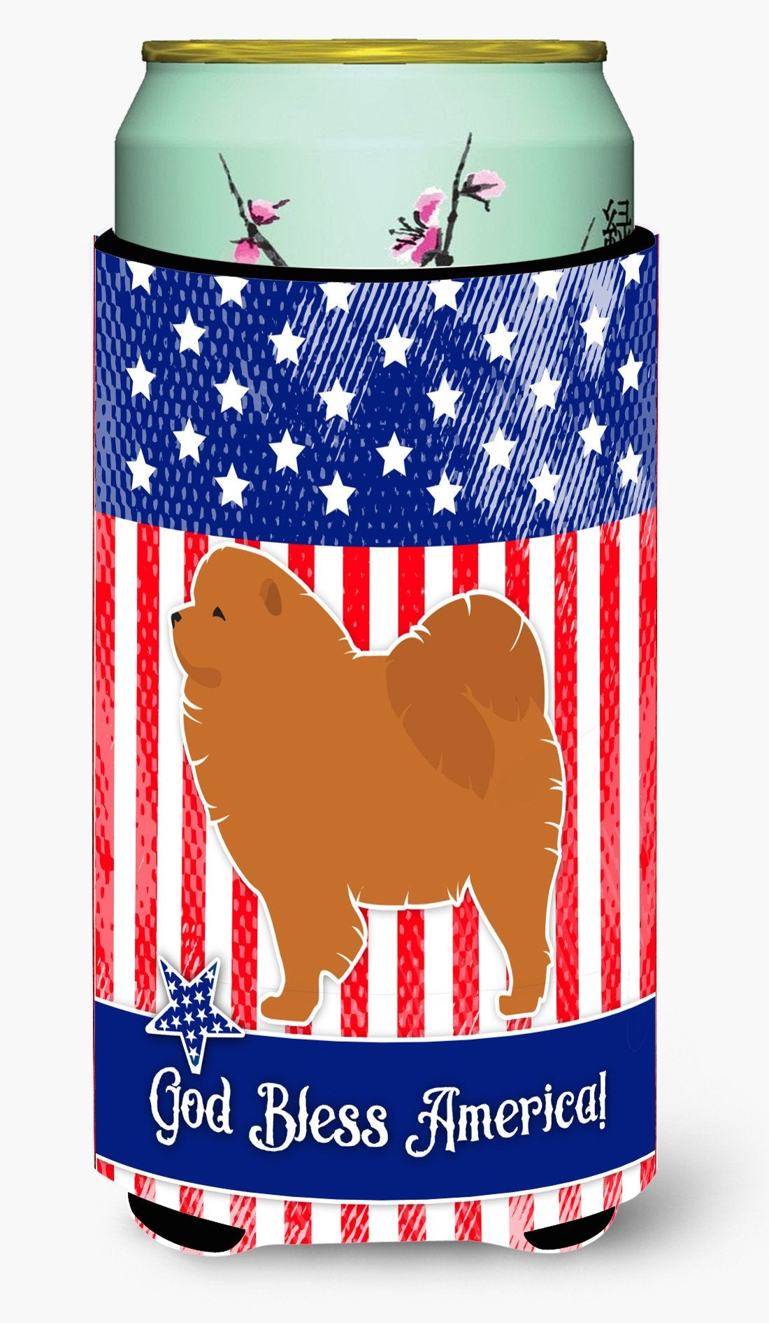USA Patriotic Chow Chow Tall Boy Beverage Insulator Hugger BB3351TBC by Caroline's Treasures