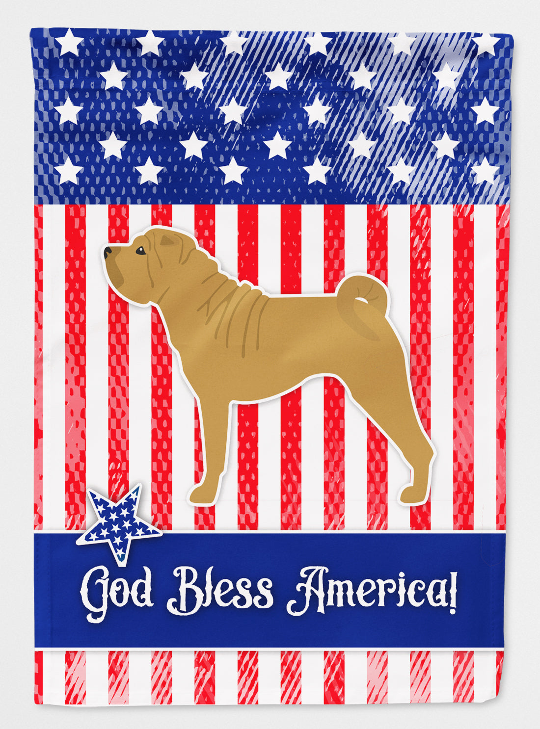USA Patriotic Shar Pei Flag Canvas House Size BB3352CHF by Caroline's Treasures