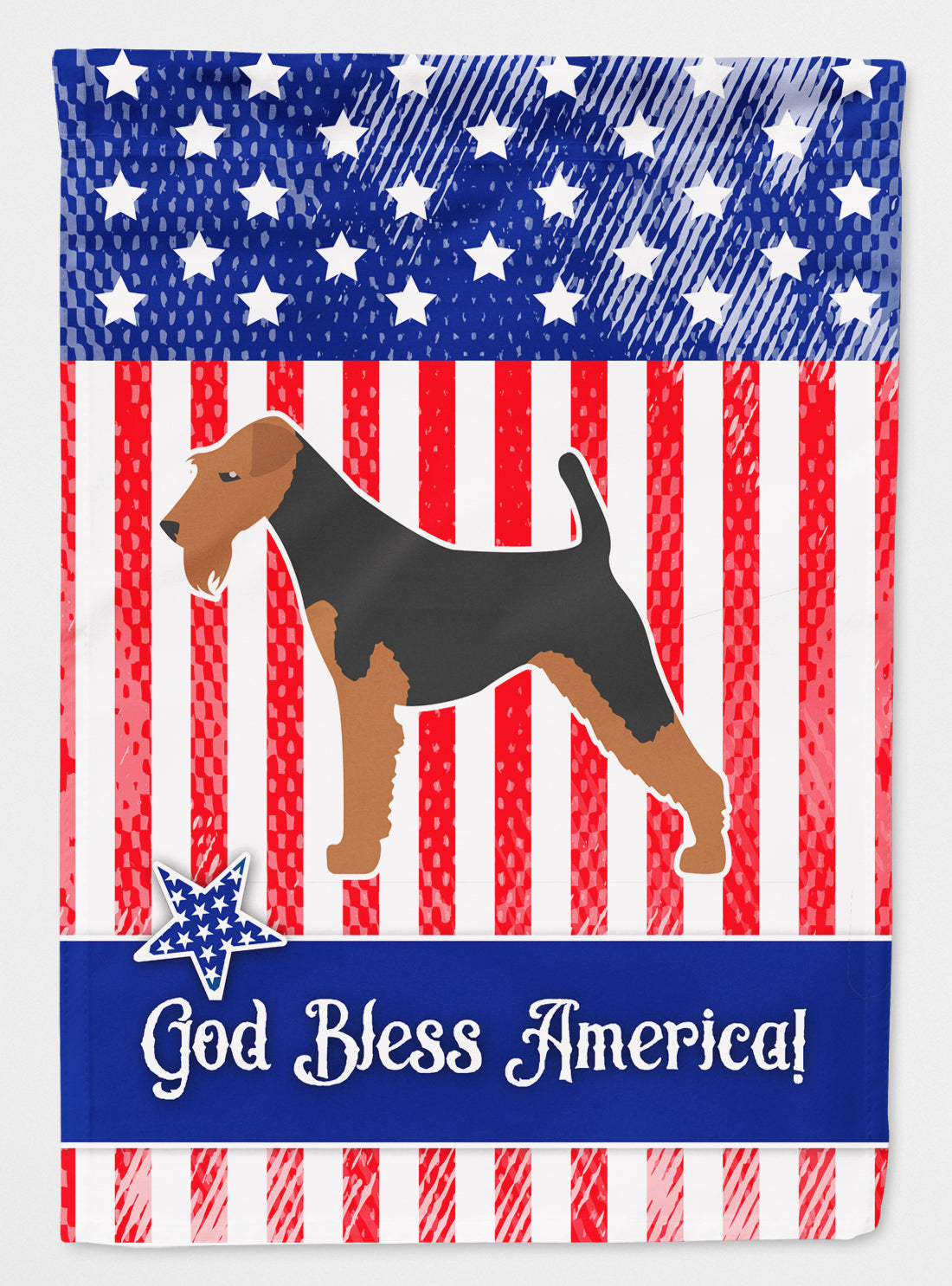 USA Patriotic Airedale Terrier Flag Canvas House Size BB3357CHF by Caroline's Treasures