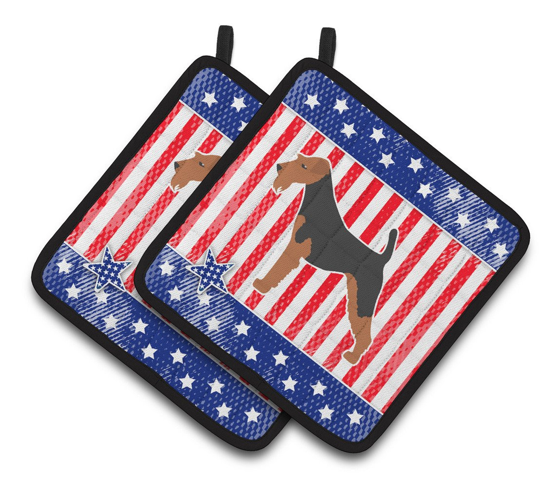 USA Patriotic Airedale Terrier Pair of Pot Holders BB3357PTHD by Caroline's Treasures