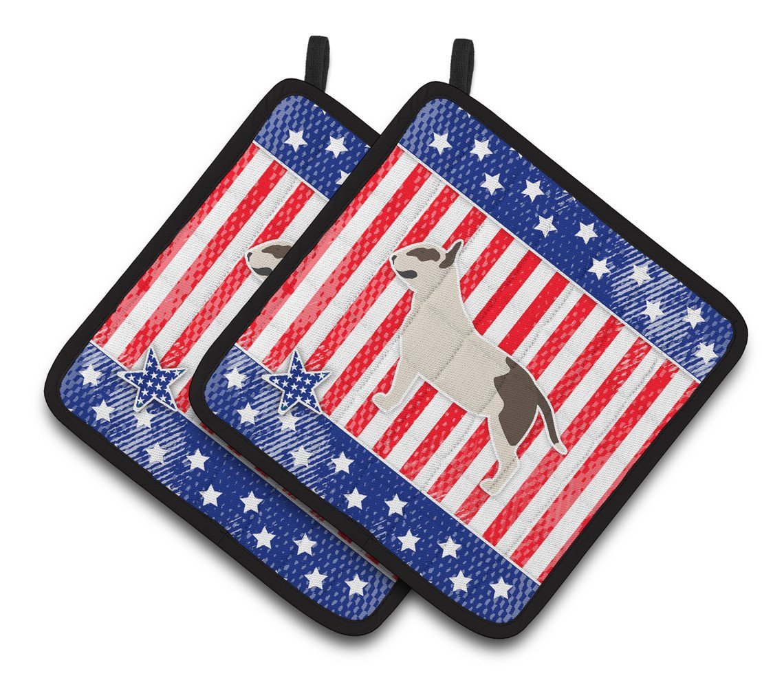 Buy this USA Patriotic Bull Terrier Pair of Pot Holders BB3378PTHD