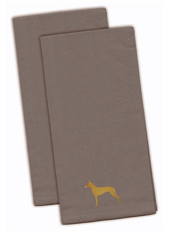 Buy this Pharaoh Hound Gray Embroidered Kitchen Towel Set of 2 BB3388GYTWE