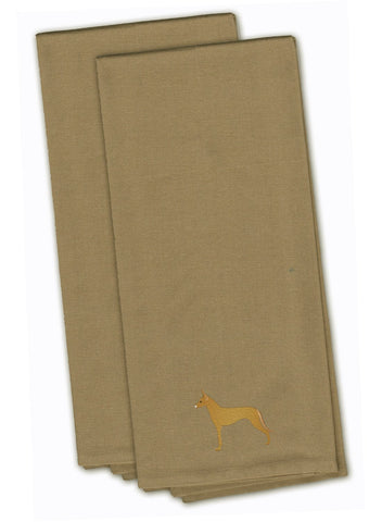 Buy this Pharaoh Hound Tan Embroidered Kitchen Towel Set of 2 BB3388TNTWE