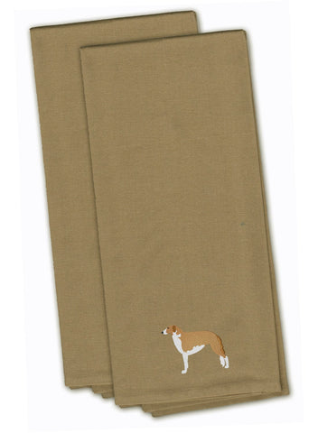 Buy this Borzoi Russian Greyhound Tan Embroidered Kitchen Towel Set of 2 BB3399TNTWE