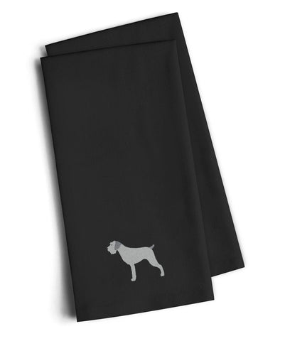 Buy this German Wirehaired Pointer Black Embroidered Kitchen Towel Set of 2 BB3411BKTWE